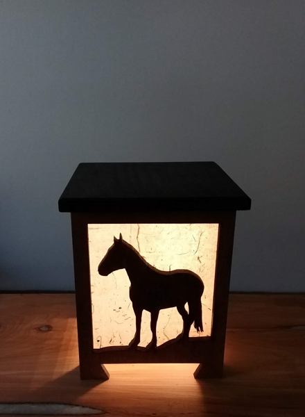 Shoji lamp with a horse silhouette design