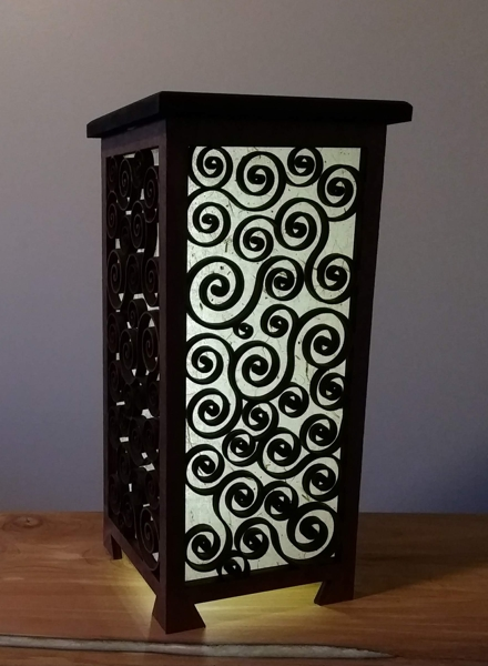 Shoji lamp with a complex design made of scrolls and spiral, 9